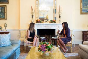 first lady Michelle Obama meets with Melania Trump for tea in the yellow oval room of the white house
